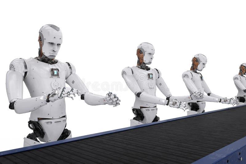 De robot assembleert lijn vector illustratie