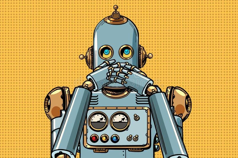 De robot behandelde zijn mond royalty-vrije illustratie