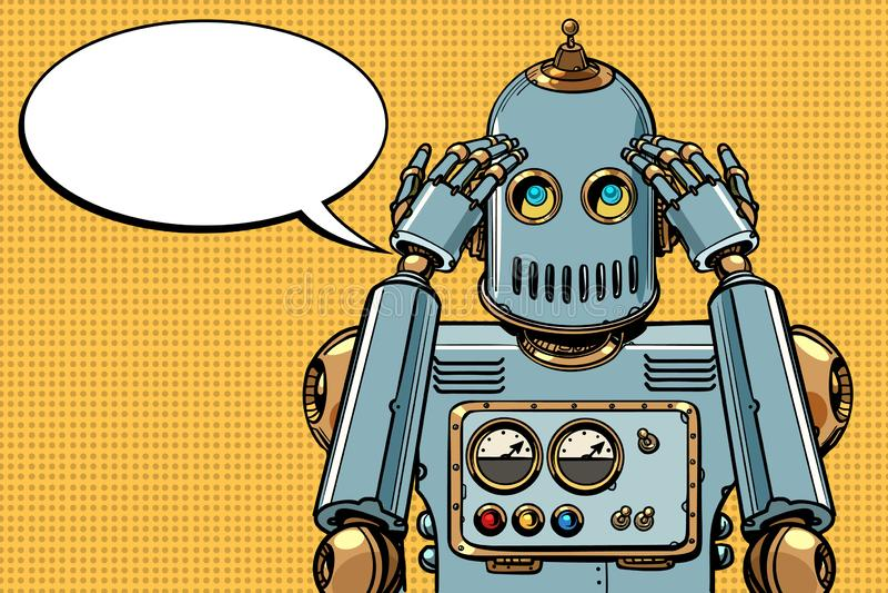 De robot denkt, denker royalty-vrije illustratie