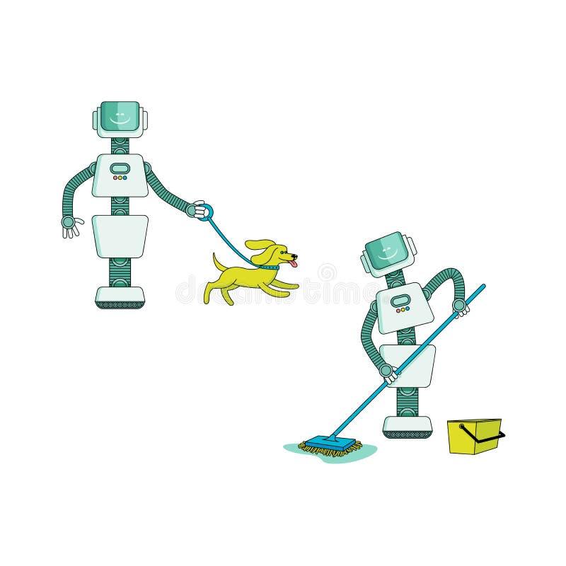 De robot die huishoudelijk werk doen plaatste - androïde wasvloer met natte zwabber en het lopen hond met kraag stock illustratie
