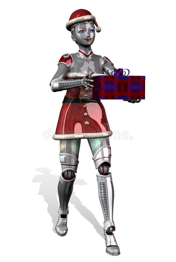 De Robot die van Kerstmis Gift - met het knippen van weg aanbiedt stock illustratie