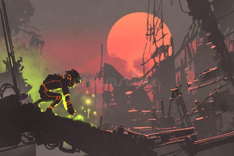 De robot die zaden in de ruïnestad planten bij zonsondergang vector illustratie