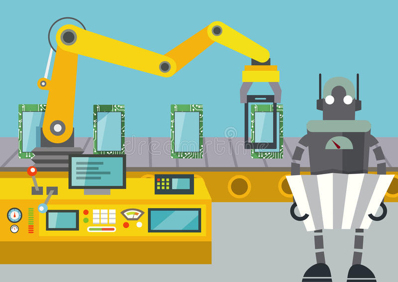 De robot gecontroleerde lopende band van tablettenpc stock illustratie