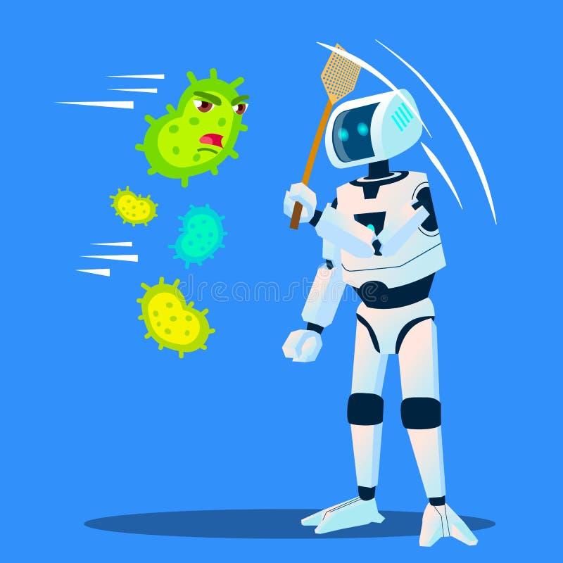 De robot jaagt Bacteriën weg die rond Vector vliegen Geïsoleerdeo illustratie stock illustratie
