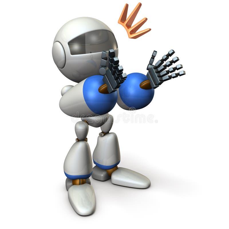 De robot juicht toe en complimenteert Het schijnt als het verleidt vector illustratie