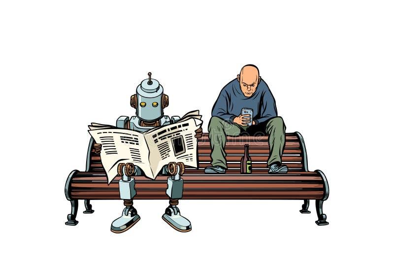 De robot leest de ochtendkrant, daarna zit een dronken mens vector illustratie
