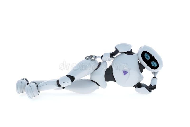 De robot ligt op de vloer vector illustratie