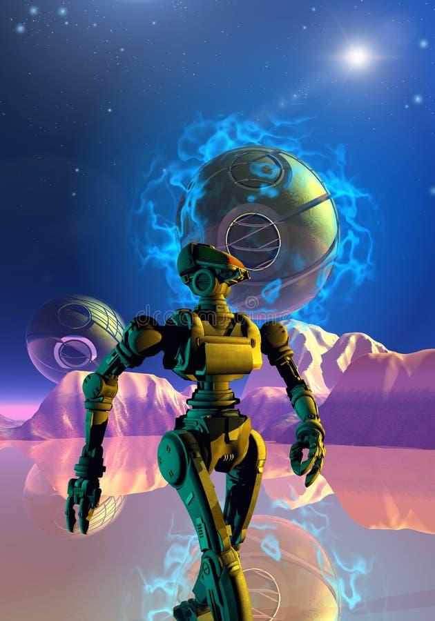 De robot loopt op een onbekende planeet stock illustratie