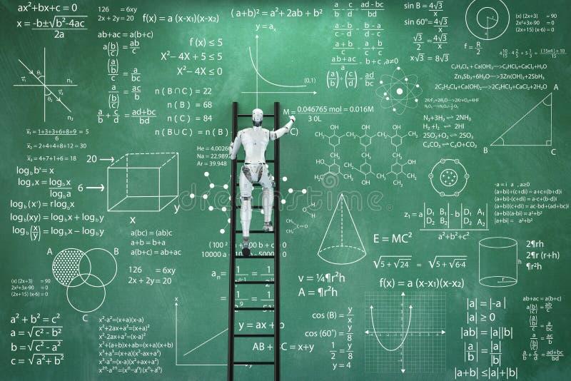 De robot lost wiskundeprobleem op stock illustratie