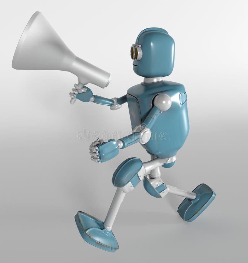 De robot met 3d megafoon, geeft terug vector illustratie