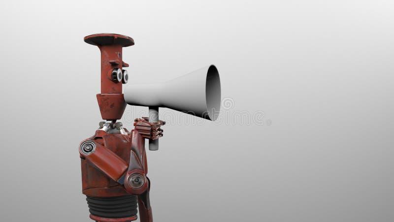 De robot met 3d megafoon, geeft terug royalty-vrije illustratie