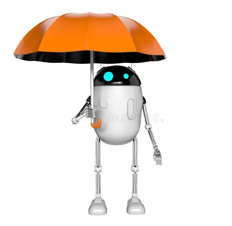 De robot met 3d paraplu, geeft terug royalty-vrije illustratie