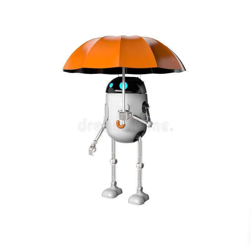 De robot met 3d paraplu, geeft terug stock illustratie