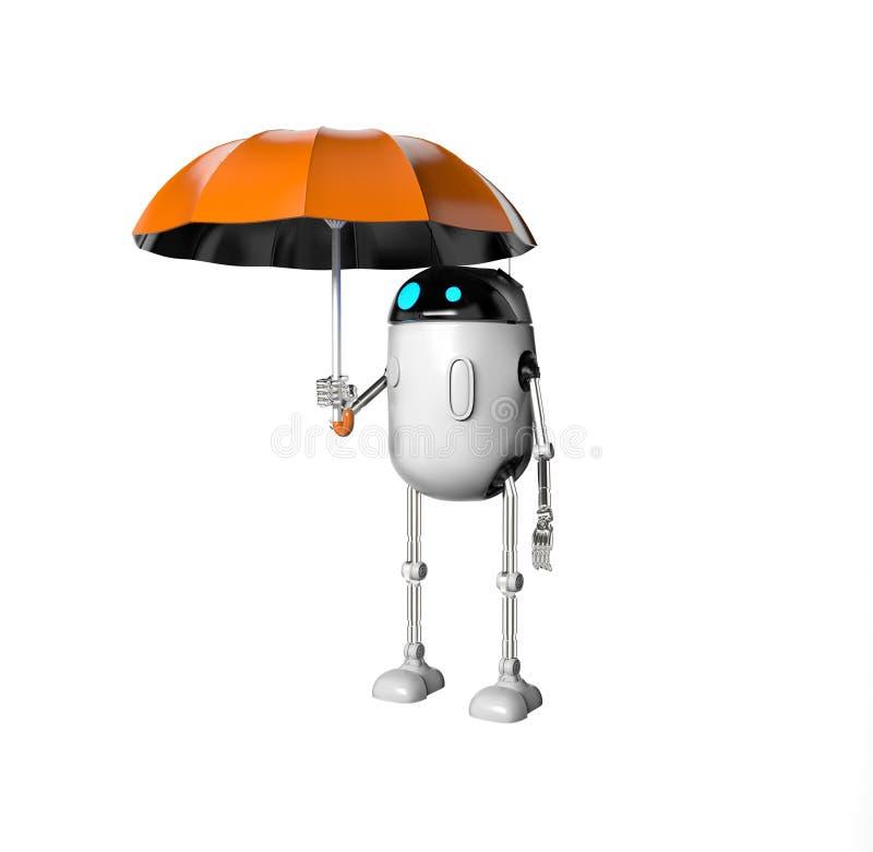De robot met 3d paraplu, geeft terug vector illustratie