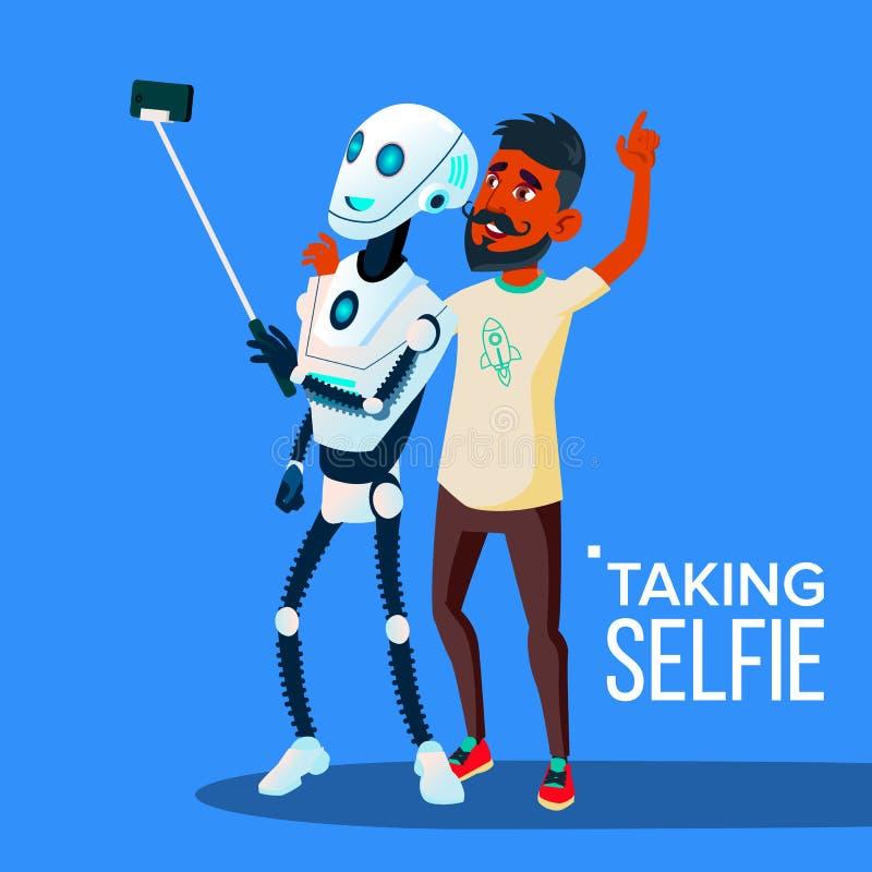 De robot neemt een Selfie op Smartphone met Vriend Guy Vector Geïsoleerdeo illustratie stock illustratie