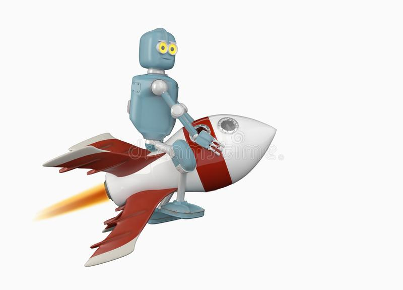 De robot op 3d raket geeft terug vector illustratie
