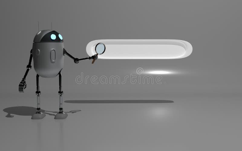 de robot searth in 3d Internet geeft terug royalty-vrije illustratie