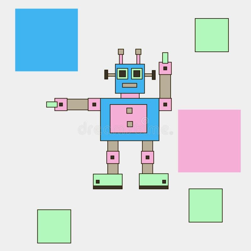 De robot toont, heet welkom, informeert stock illustratie