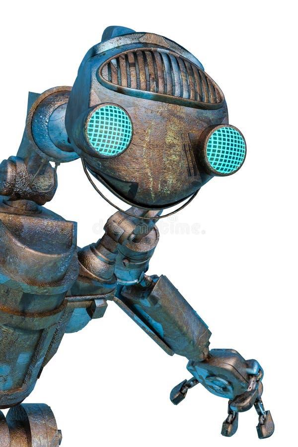 De robot van de Arbeider sluit portret dicht vector illustratie