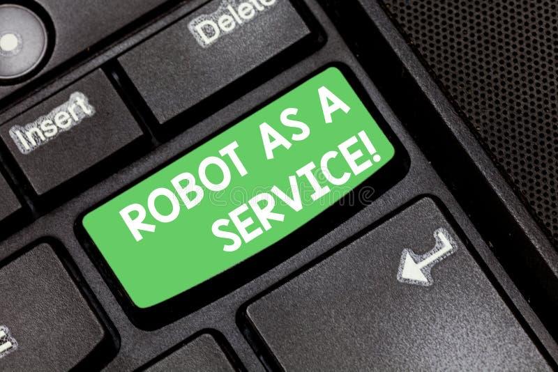 De Robot van de handschrifttekst als Dienst Concept die het praatjebot van de Kunstmatige intelligentie Digitale hulp Toetsenbord royalty-vrije stock foto's