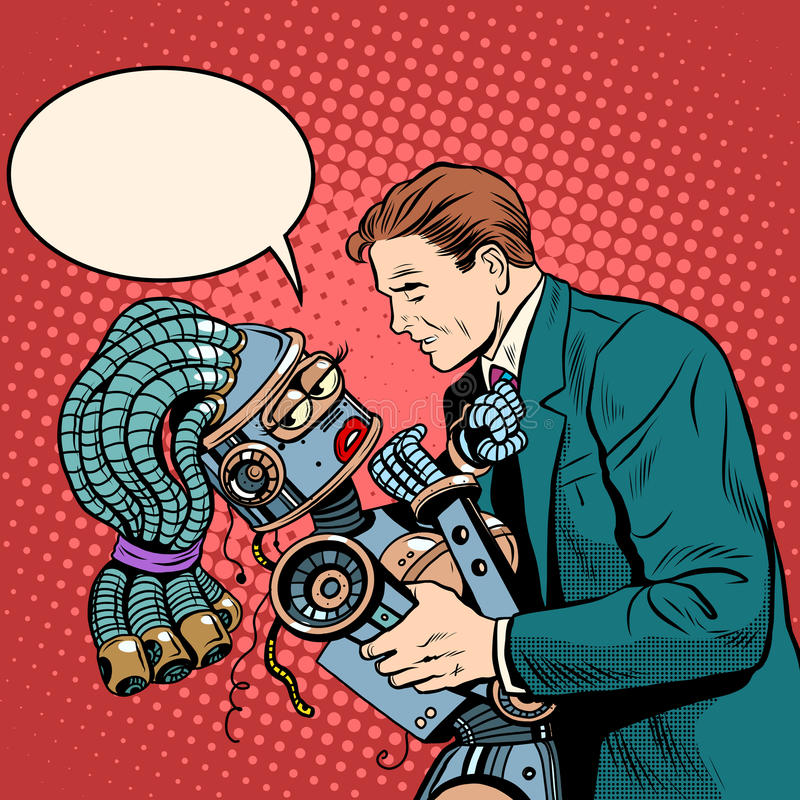 De robot van het mensenmeisje Liefde en computertechnologie vector illustratie