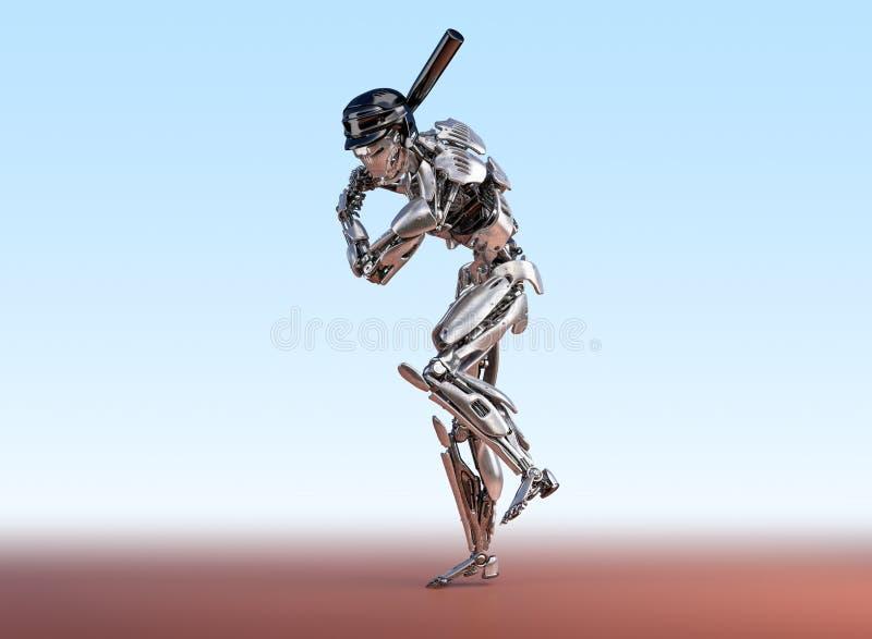 De robot van de honkbalspeler Mens en cyborg robotachtig integratieconcept Robotachtige technologie 3D illustratie royalty-vrije illustratie