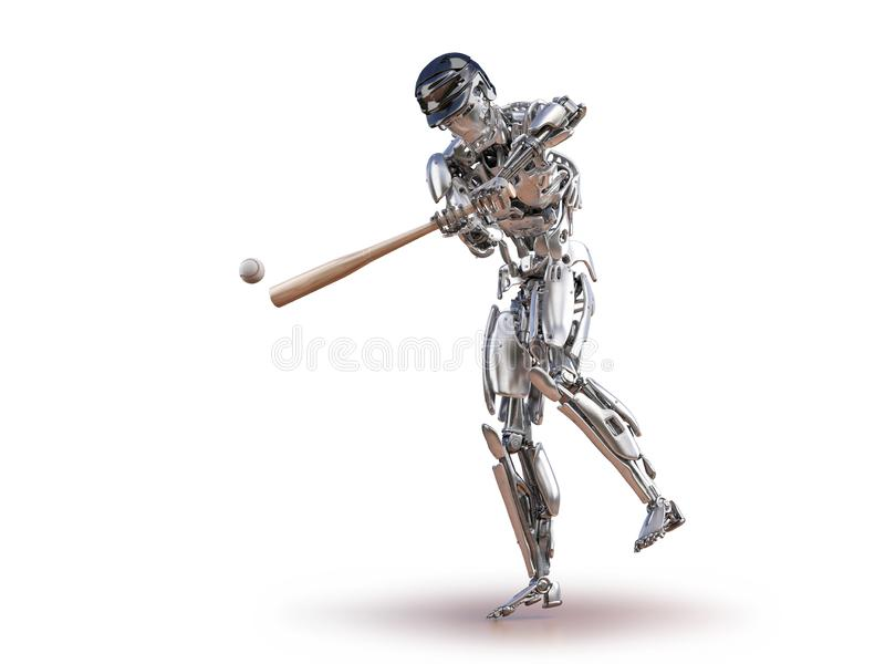 De robot van de honkbalspeler Mens en cyborg robotachtig integratieconcept Robotachtige technologie 3D illustratie stock illustratie