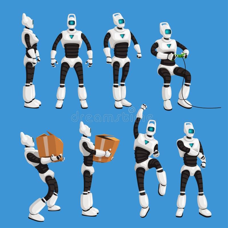 De robot in verschillend stelt in reeks op blauwe achtergrond stock illustratie