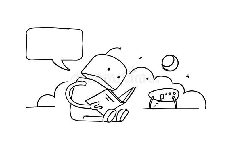 De robot zit lezingsboek Instructiesgebruikershandleiding Gevonden niet foutenpagina 404 Schets van de tekeningen de met de hand  stock illustratie