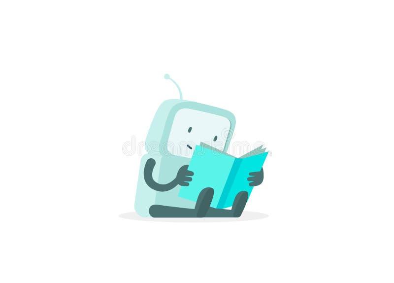 De robot zit lezingsboek Instructiesgebruikershandleiding De gevonden niet pagina van de fout Vlakke kleuren vectorillustratie stock illustratie
