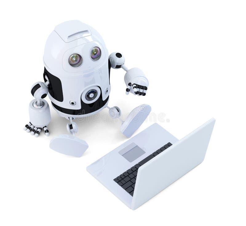 De robot zit met laptop. vector illustratie