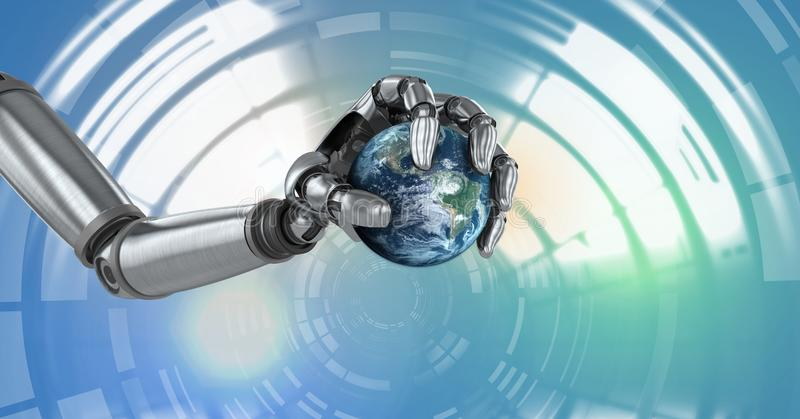 De robotachtige androïde aarde van de handholding en de Gloeiende interface van de cirkeltechnologie stock illustratie
