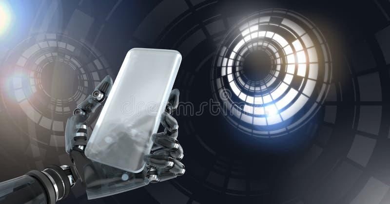 De robotachtige androïde telefoon van de handholding en de Gloeiende interface van de cirkeltechnologie royalty-vrije illustratie