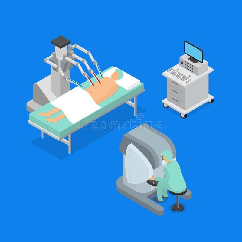De robotachtige 3d Pictogrammen van het Chirurgieconcept Geplaatst Isometrische Mening Vector royalty-vrije illustratie