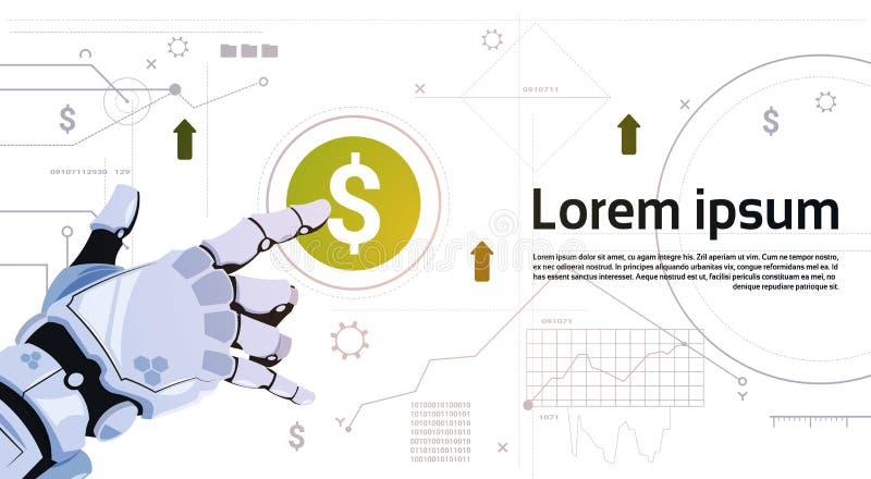 De robotachtige Knoop van het de Dollarteken van de Handaanraking op Digitale het Schermbanner met Exemplaarruimte royalty-vrije illustratie
