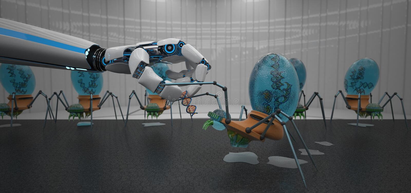 De Robothand van DNA Nanobots stock illustratie