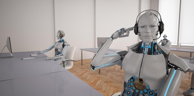 De robots van Chatbotscallcenter royalty-vrije illustratie