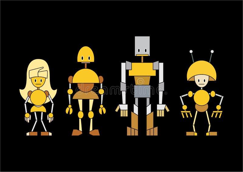 De robotsfamilie van het beeldverhaal stock illustratie