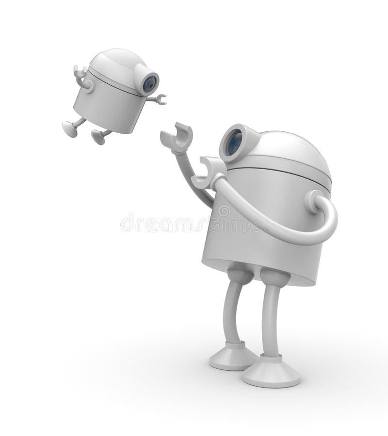 De robotspelen met zijn zoon royalty-vrije illustratie
