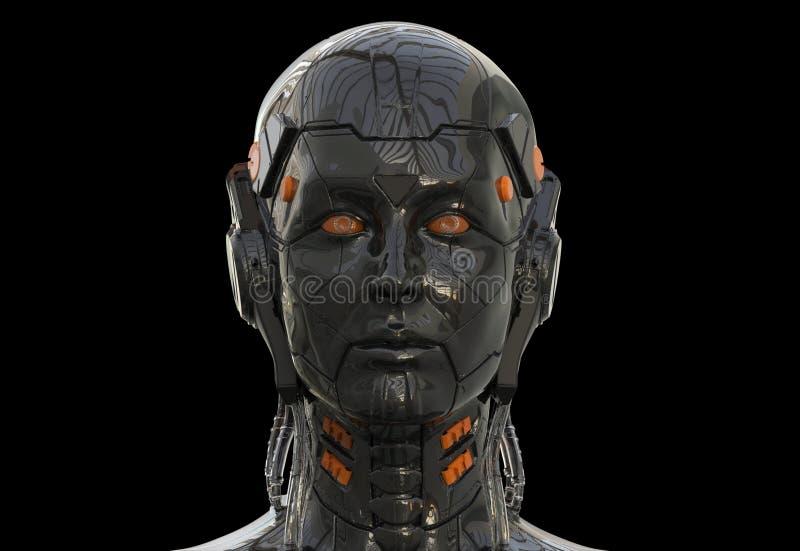 De robotvrouw, androïde vrouwelijke 3d kunstmatige intelligentie sc.i-FI geeft terug royalty-vrije illustratie