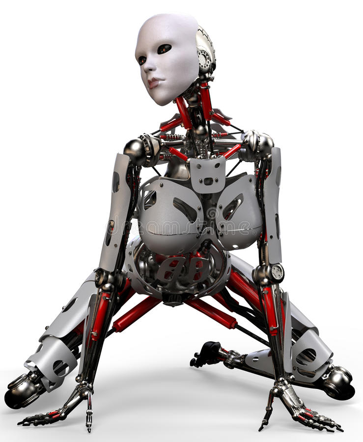 De robotvrouw crocked stock illustratie