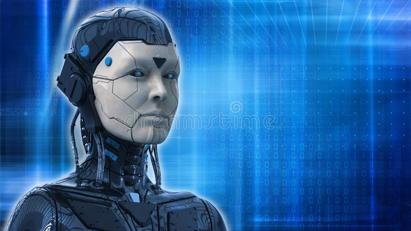 De robotvrouw, sc.i-FI androïde vrouwelijke 3d kunstmatige intelligentieachtergrond geeft terug vector illustratie