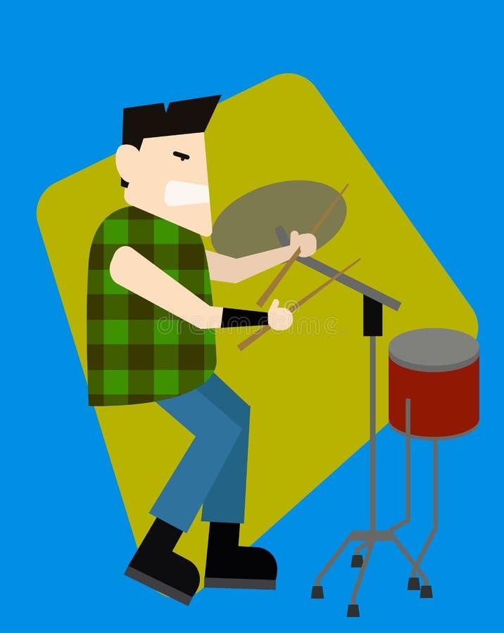 De Rockstarslagwerker speelt de trommelmachine vector illustratie