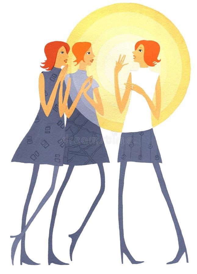 De roddel-meisjes, Drie meisjes spreken actief stock illustratie