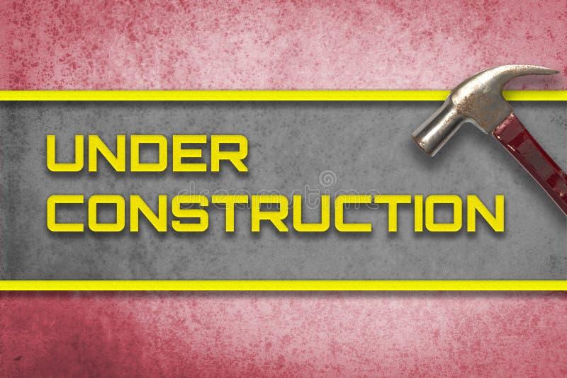 De rode in aanbouw website van de hamerbanner royalty-vrije stock afbeeldingen