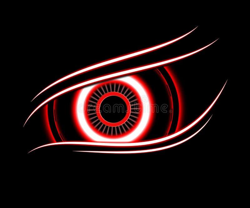De rode abstracte achtergrond van de oogtechnologie royalty-vrije illustratie