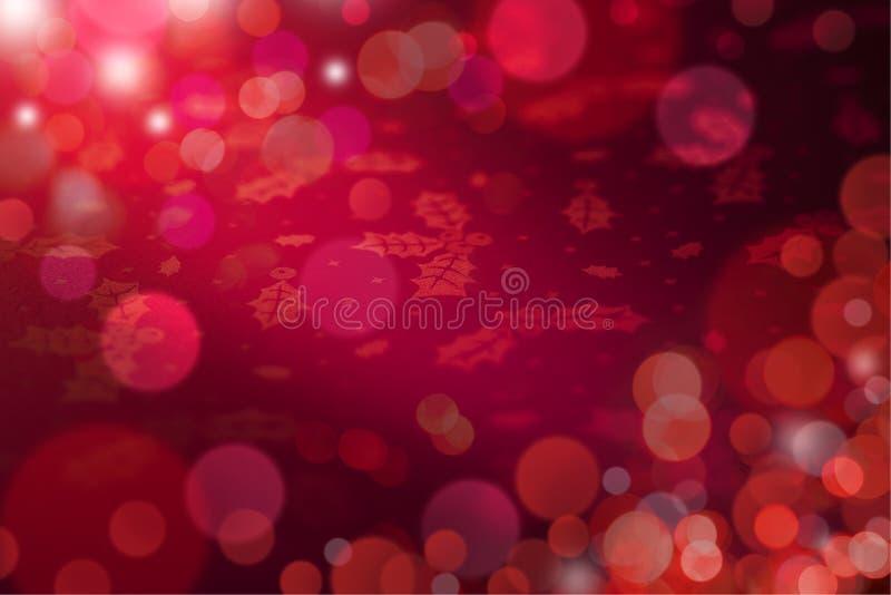 De rode Abstracte Achtergrond van Kerstmislichten stock afbeeldingen