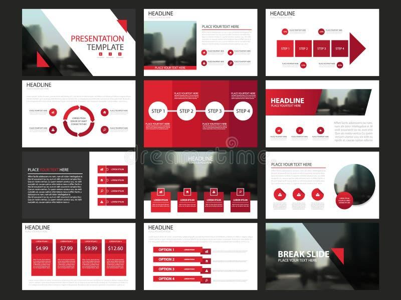 De rode Abstracte presentatiemalplaatjes, Infographic-het vlakke ontwerp van het elementenmalplaatje plaatsen voor de markt van h