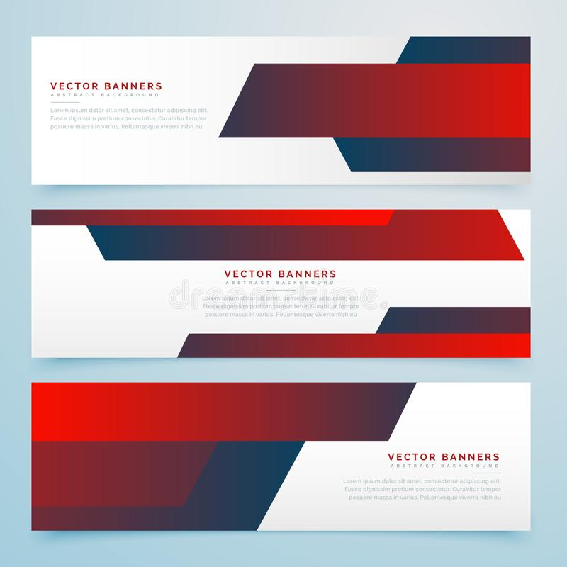 De rode abstracte reeks van het bedrijfsbanners vectormalplaatje royalty-vrije illustratie