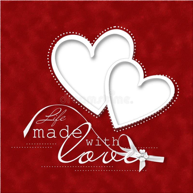 De rode achtergrond van de Dag Card.beautiful van de valentijnskaart met kader-hart vector illustratie